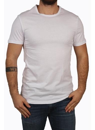 Derigo Beyaz Erkek Bisiklet Yaka T-Shirt 68503 Beyaz
